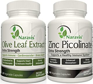 Immune Support - Olive Leaf Extract & Zinc Supplements - Super Strength Bundle - All Natural - Non-GMO - by Naravis