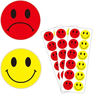 1.5 inch Yellow Happy Smiley Face Stickers and Unhappy Red Sad Labels | Round Behavior Sticker Circle Teacher Labels, Great for Teachers, Parents, Arts, Crafts, Reward Charts - Pack of 504