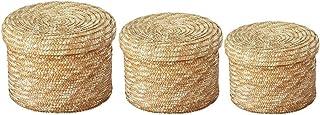 Boîte de Rangement Rotin, Bac de Rangement, Panier de Panier en Osier Naturel, 3 pcs/Set Panier de Rangement tissé Paille ...