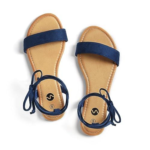 440517ba113c0b Rekayla Open Toe Tie Up Ankle Wrap Flat Sandals for Women