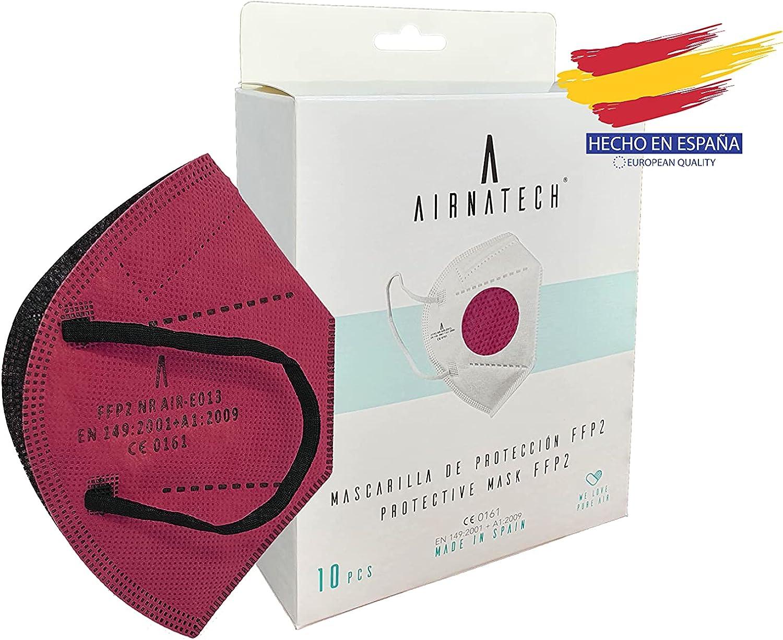A AIRNATECH Mascarillas FFP2 Granate pack de 10 unidades. Marcado CE0161 Homologadas - Normativa EN149: 2001+A1: 2009 - 5 Capas de 95% Filtración - Mascarilla ffp2 protección respiratoria