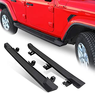 DNA MOTORING STEPB-ZTL-8140-BK Tubing Armor Running Board Side Step Nerf Bar for 18-20 Jeep Wrangler JL Unlimited 4Dr Black