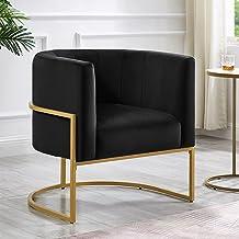 كراسي غرفة المعيشة هافانا 24KF كرسي بلمسة منجد مخملي رمادي عصري مع حامل معدني ذهبي أسود