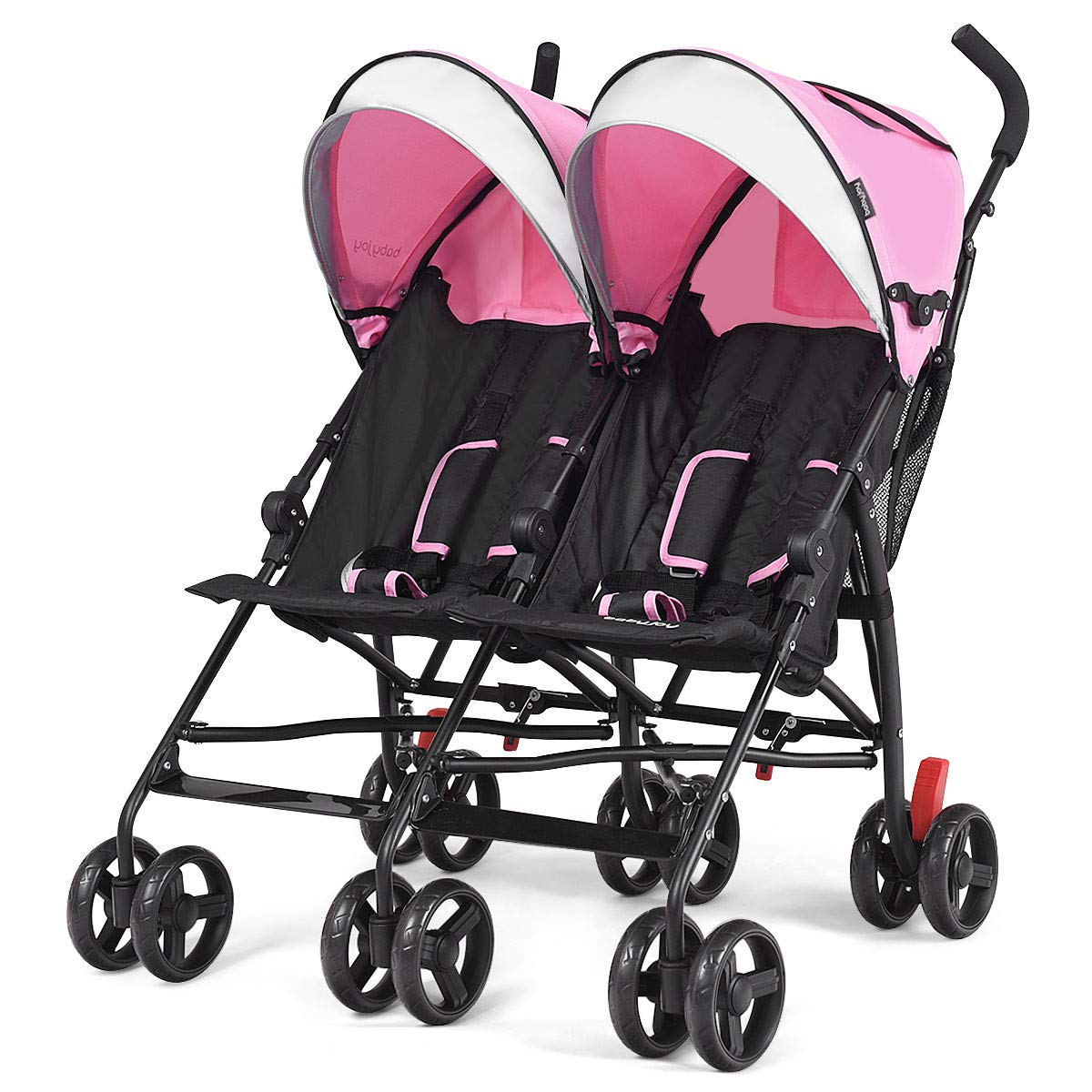 ARLIME Double Lightweight Infant Stroller, Side by Side Umbrella Stroller W/5-Point Harness, Large Storage Bag & Convenient Cup Holder, Adjustable Sun Canopy for Baby & Toddlers (Pink)