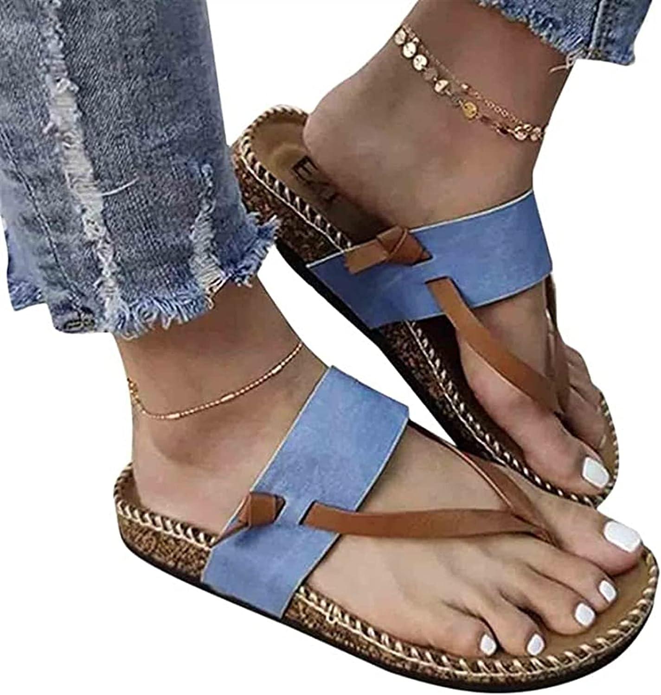 Summer Womens Sandals, Flat Casual Shoes Beach Slipper Shoes Ladies Open Toe Shoes Comfort Slip-On Slide Sandals Breathable Anti Slip Peep-Toe Sandals (Color : Blue, Size : 36)