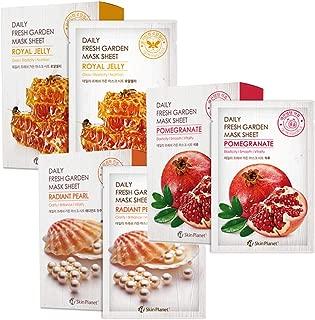 1 Day 1 Sheet, 30 Combo Daily Fresh Garden Facial Mask Sheet Set, Korean Beauty Cosmetics Tencel Facial Mask Pack for Moisturizing and Nutrients (Pomegranate, Royal Jelly, Pearl)