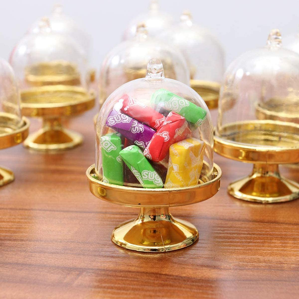 Guador Mini Soporte Pastel Pl/ástico Dorado, Plateado 24 Piezas Platos Caramelo Cake Stand Display Plat para Postres Cupcakes Peque/ños Boda Cumplea/ños Suministros Fiesta