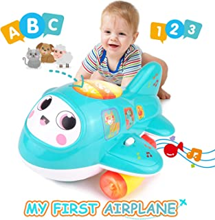 KidPal Baby Toys, My First Plane Baby Toy for Age 1 2+ Year Old Boys & Girls with Music and Light, Learning Letters & Numbers, Educational Car Toy for 12M 18M 24M + Smart Wheel Jet Baby Sensory Toy