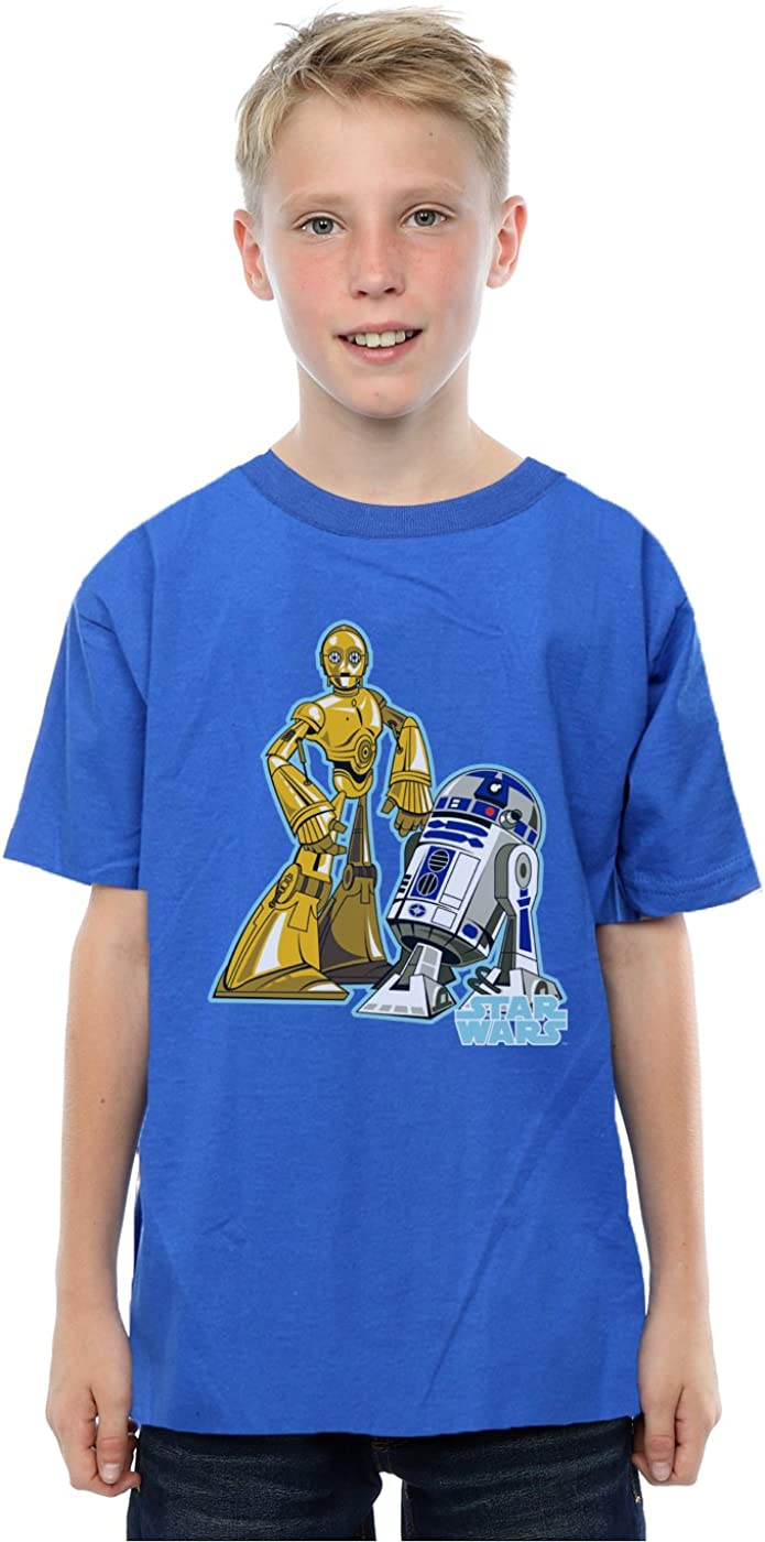 STAR WARS Boys C-3PO and R2-D2 Character T-Shirt 5-6 Years Royal Blue