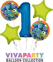 Monsters University Round Balloon Bouquet 5 pc, 1st Birthday, Blue Number 1 Jumbo Balloon | Viva Party Balloon Collection