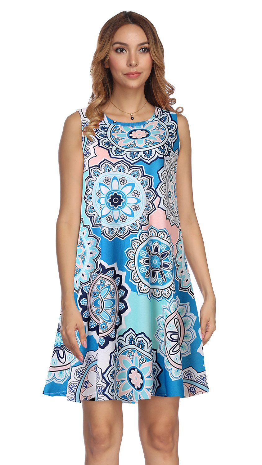 Available at Amazon: Demetory Women's Summer Floral Print Tunic Dress with Pocket