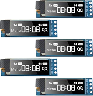 5 Pieces I2C Display Module 0.91 Inch I2C SSD1306 OLED Display Module I2C OLED Screen Driver DC 3.3V~5V (White Display Color)