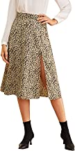 SweatyRocks Women's Casual High Waist Boho Printed Side Split A-Line Midi Skirt