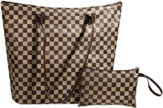 Shinefier V Style Womens Shoulder Bag MM 13in Brown Damier Tyvek Ladies Handbag Waterproof Checkered Tote Bag with Small Handy Pouch