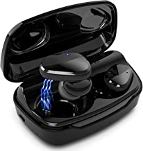 Auriculares inalámbricos Bluetooth 5.0 con preajustes de ecualización, RoomyRoc auriculares inalámbricos con sonido estéreo 6D HiFi y funda de carga de 2000 mAh, auriculares Bluetooth (negro)