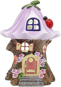 8 Inch Fairy Garden House Statue, Solar Lights Purple Flower Roof Tree House Fairy Garden Figurine, Fairy Garden Accessories Outdoor, Resin Garden Decorations for Outside, Patio, Lawn Yard