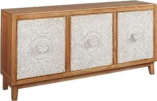 Ashley Furniture Signature Design - Lorenburg Accent Cabinet - Boho Chic - Antique White/Brown