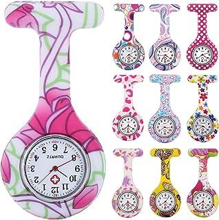 10pcs Floral Nurse Clip-on Fob Brooch Pocket Watch Lapel Watch for Women Girl