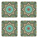 Lunarable Moroccan Coaster Set of 4, Architectural Glaze Wall Tile Ceramic Historical Traveling Destinations,...