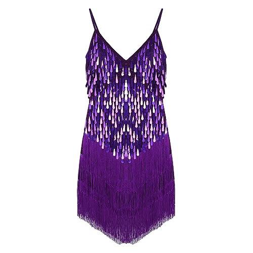65805f5052 Freebily Women Ballroom Salsa Samba Rumba Tango Tassel Sparkling Sequins  Latin Dance Dress