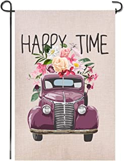 Shmbada Truck Flowers Valentine's Day Summer Spring Burlap Garden Flag, Premium Fabric Double Sided, Happy Time Welcome Outdoor Decor for Garden Yard Lawn, 12.5 x 18.5 inch