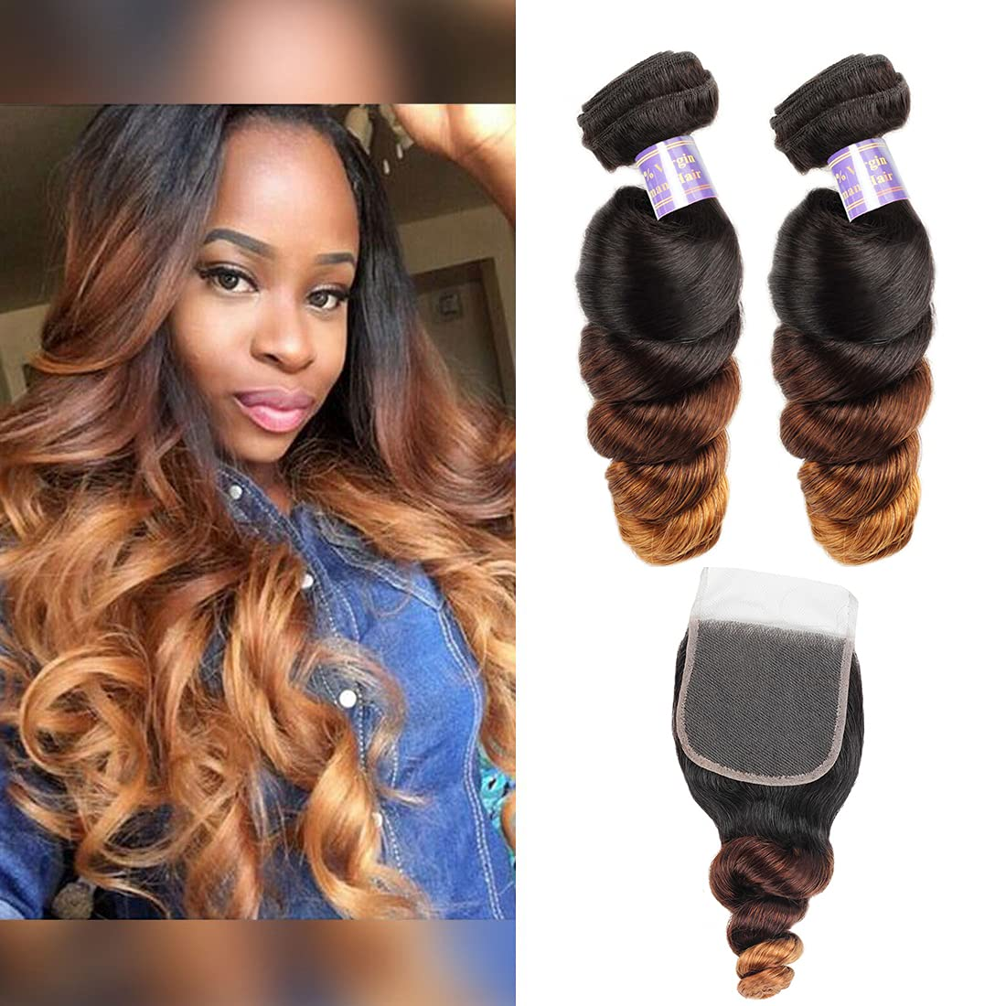 Allove Hair Brazilian Loose Wave Closure Ombre With 16 Bundles 在庫あり 開催中