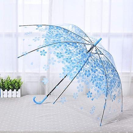 JRM's Romantic Transparent Clear Flowers Bubble Dome Umbrella Cherry Blossom Mushroom Apollo Sakura Folding Sunshade Rain Umbrella (Blue)