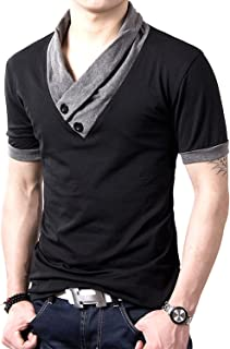 [ Make 2 Be ] スリム Vネック 長袖 半袖 Tシャツ カットソー ツートンカラー 綿100% スカーフ風 カジュアル シャツ MF01