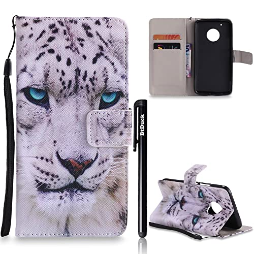 BtDuck Leather Wallet Case Moto G5 Plus Leopard Gentleman Blue Eyes Stand Pattern Phone Protector Shockproof Heavy Duty Robust Bumper Case Card Slots Magnetic Closure