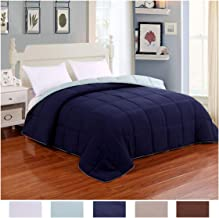 Homelike Moment Reversible Lightweight Comforter - All Season Down Alternative Comforter Queen Summer Duvet Insert Blue Quilted Bed Comforters with Corner Tabs Full/Queen Size Navy/Light Blue