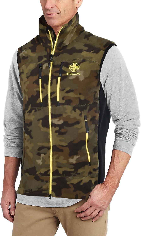 Polo Ralph Lauren RLX Fleece Zip Jacket Vest Camo Yellow Army Green Brown
