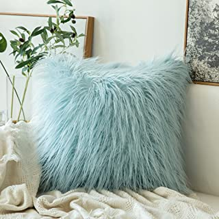 MIULEE Decorative New Luxury Series Style Light Blue Faux Fur Throw Pillow Case Cushion Cover for Sofa Bedroom Car 18 x 18 Inch 45 x 45 cm