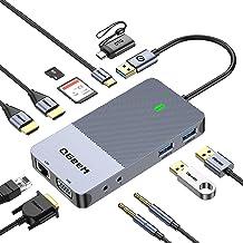 QGeeM USB 3.0 Docking Station, USB C Hub to HDMI Multiport Adapter,USB Hub Dual HDMI VGA Monitor Triple Display Portable L...
