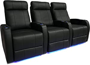 Valencia Syracuse Premium Top Grain 9000 Leather Power Recliner LED Lighting Home Theater Seating (Row of 3)