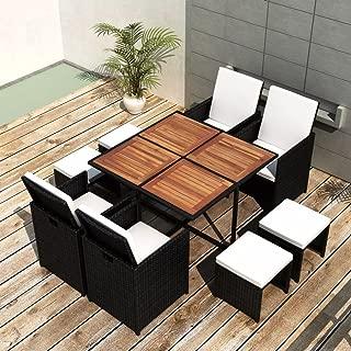 Tidyard 9 Piece Outdoor Garden Dining Set, Patio Dining Table Furniture Set, Comfortable Cushions, Steel Frame, Wood Tabletop, Poly Rattan Black, Space Saving