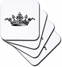 3dRose Majestic Crown Black and White Drawing Royal Tiara-Like Crown Vintage Art King Queen Princess Ceramic Tile Coasters (Set of 4)