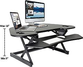 "Rocelco 46"" Height Adjustable Corner Standing Desk Converter | Sit Stand Up Desk Riser Computer Workstation | Dual Monitor Keyboard Tray Gas Spring Assist | Black (R CADRB-46)"