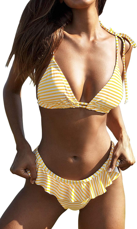 CUPSHE Women's V Neck Yellow White Striped Ruffled Bikini Swimsuit Sets