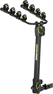 """BUZZ RACK Bike Platform Hitch Rack- 4-Bike Carrier Rack- Bike Transporter- Sturdy Steel Construction 2 Foldable Arms Carrier- Compatible with 1.25 or 2"""" Hitch Receivers- Ideal for Travelling"""