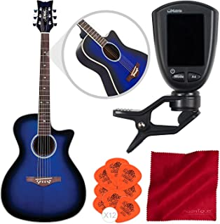 Daisy Rock Wildwood Artist Acoustic-Electric Guitar (Royal Blue Burst) with Guitar Tuner, Picks, and Cleaning Cloth