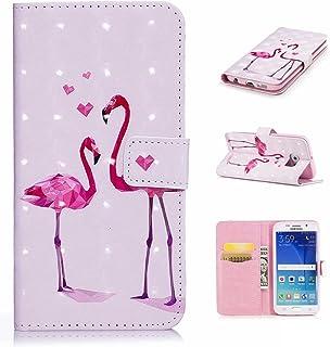 Galaxy S6 Edgeケース CUSKING ギャラクシS6エッジ 手帳ケース カード収納付き PUレザー アニメ かわいい 財布型 カバー ノート型 フリップ 保護ケース - ピンク, フラミンゴ