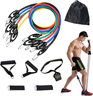 Ypser 11pcs Exercise Band Set, Muscle Builder Resistance Bands with Door Anchor, Ankle Straps, Carrying Bags, Handles for ...