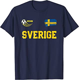 SVERIGE T-Shirt Swedish Soccer Fan Jersey Style Sweden Shirt