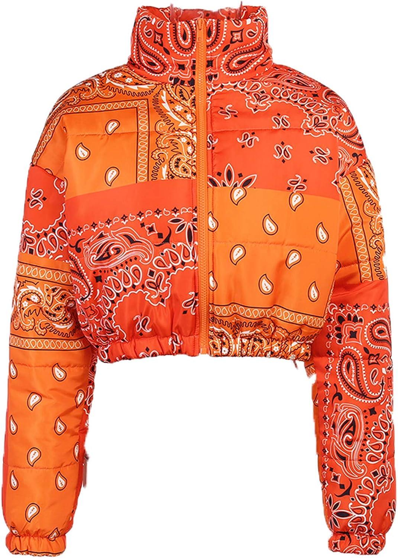 Women Shiny Short Puffer Jackets Bandana Printed Cropped Puffer Jackets Fashion Zip Up Bubble Coats