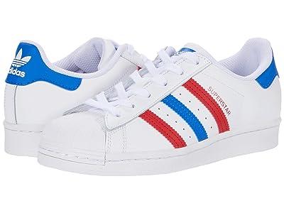 adidas Originals Kids Superstar (Big Kid) (Footwear White/Blue/Scarlet) Kids Shoes