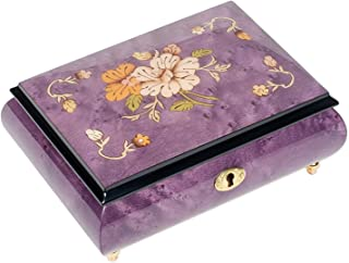 Ornate Floral Design Purple Italian Hand Crafted Inlaid Wood Jewelry Music Box Plays Minuet No. 1