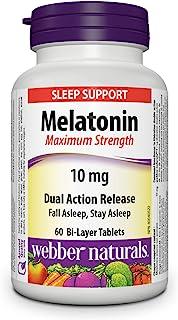 Webber Naturals Melatonin, Maximum Strength, Dual Action Release Tablet, 10 mg, 60 Count