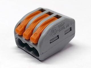 Wago 222-413 Bloc de raccordement pour 3conducteurs avec leviers, 4mm maximum, 100 pack, 100