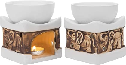 MyGift White Ceramic Carved Elephant Tealight Candle Holder, Set of 2