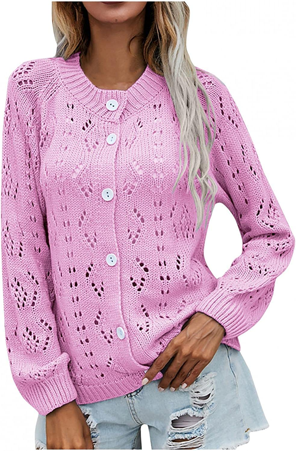 Fall Sweaters for Women Hollow Out Solid Color Knitwear Long Sleeve Casual Cardigan Open Front Button Down Shirt
